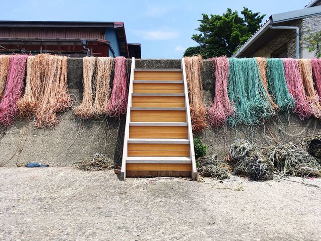 Fishing Net Colorful Rope Red Pink Green Orange Sunny Beautiful Day Stairs Outside IPhoneography The Scenery That Tom Saw Tomの見た世界 Japan Watakano Island Island