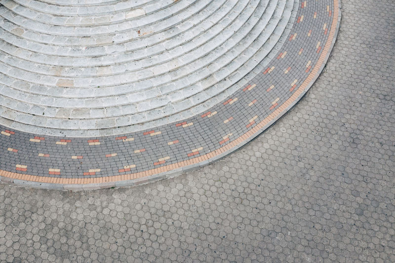 Pattern City High Angle View No People Street Day Architecture Gray Outdoors Shape Backgrounds Design Footpath Textured  Stone Road Curve Geometric Shape Transportation Built Structure Paving Stone Concentric