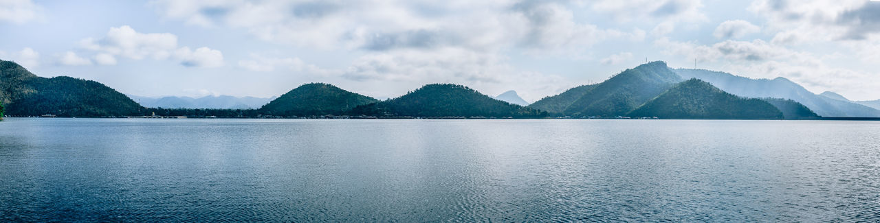 Panoramic view of lake against cloudy sky