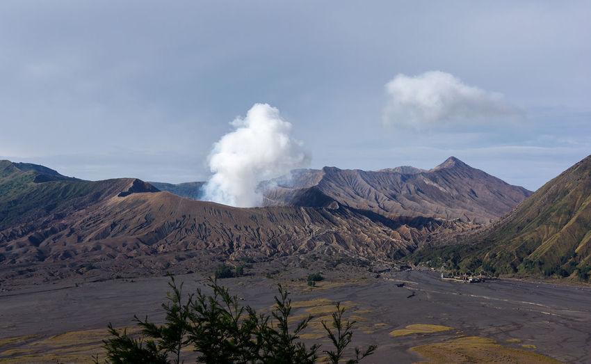 Smoke emitting from volcanic mountain bromo