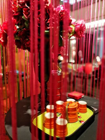 bright colors always cheers you up... Orange Chinese New Year 2018 Chinese New Year Decor Ongonglai Tea Set Colour Your Horizn Red Indoors  Table Close-up