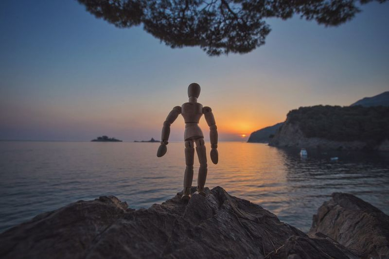 Looking at the sunset line Water Real People Sunset One Person Leisure Activity Sea Lifestyles Rock - Object Woodyforest Montenegro Beauty In Nature Scenics Full Length Sky Outdoors Men Tree Be. Ready.