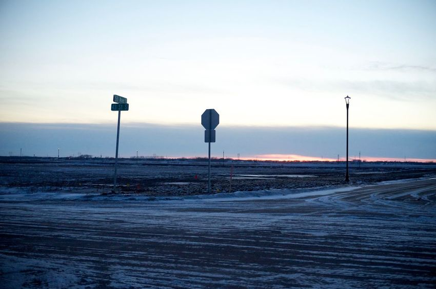2-12-16 Car Clear Sky Copy Space Dusk Empty Escapism Fargo Getting Away From It All Hobbies Incidental People Lighting Equipment North Dakota Outdoors Pole Road Sky South Fargo Street Street Light The Way Forward Transportation Vacations Weekend Activities