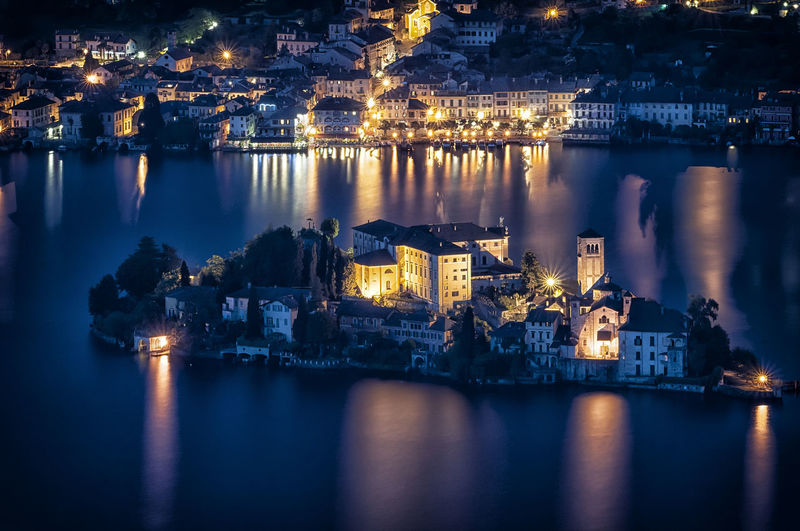 High Angle View Of Illuminated Isola San Giulio At Night
