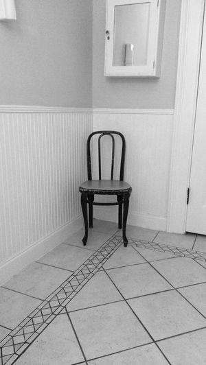 Indoors  Flooring Seat Tile Tiled Floor Chair Absence