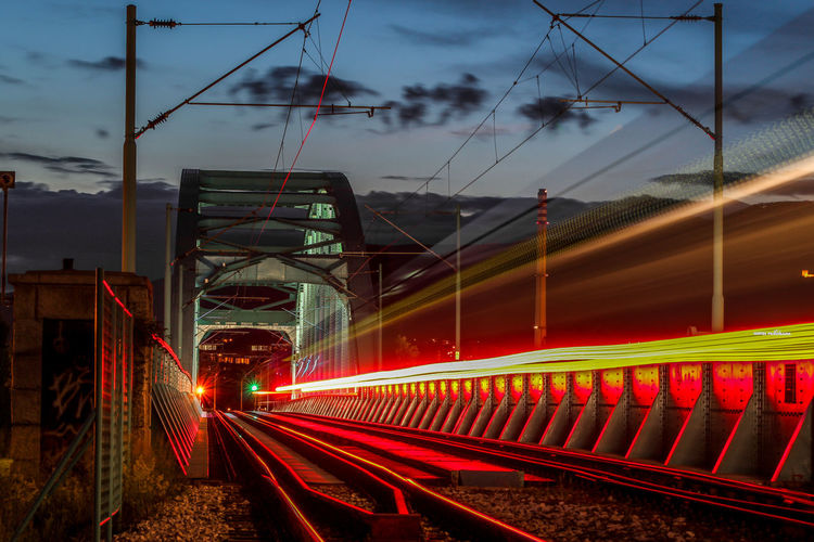 Train lights Zagreb Canonphotography Railway Signal Railwaybridge Iluminated Bridge Train Railwaybridge Light Trail Tail Light Vehicle Light