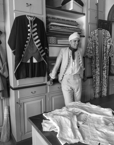 People And Places fabric salesman of the early 1700s... Human Representation Casual Clothing Memories Williamsburg Virginia Colonial Style Old-fashioned Retail  Colonial Williamsburg Black & White Monochrome Photography Snap A Stranger