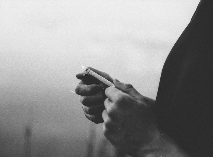 Person Part Of Cropped Holding Focus On Foreground Human Finger Gesturing Limb Creativity Joint Marijuana 35mm 35mm Film