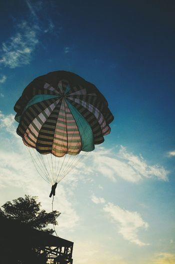 Low Angle View Sky Parachute Cloud - Sky Silhouette Outdoors Day Adventure Blue People Afternoon Jakarta