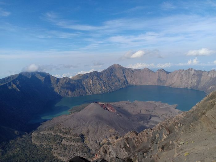 A volcano mountain on the rinjani mountain