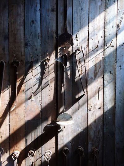 Shadow Door Architecture Metal Building Exterior Day Outdoors No People Weathered Man Made Object Tool Tools Vintage Tools