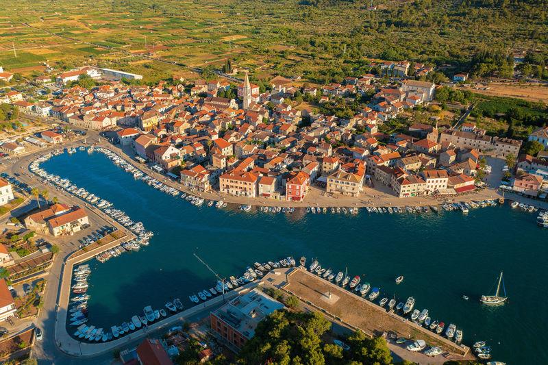 Aerial view of stari grad town on hvar island, croatia