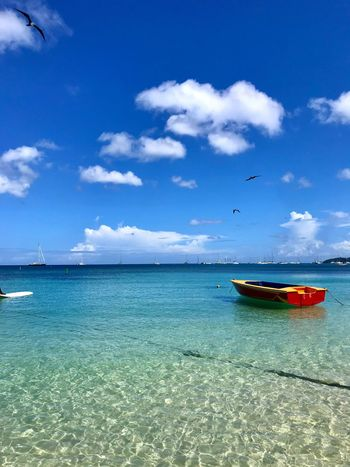 Day boat in the Caribbean Sea Fluffy Clouds And Sea Fluffy Clouds Moored Boat Boat Day Boat Water Sky Sea Nautical Vessel Cloud - Sky Transportation Mode Of Transportation
