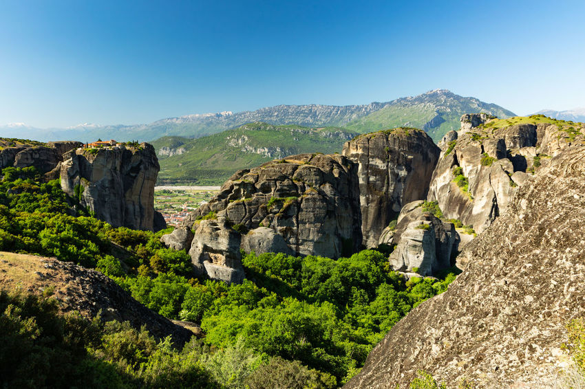 Landscapes and ancient monasteries at Meteora in Greece Greek Landmarks Meteora Meteora Monasteries Ancient Civilization Archaeology Architecture Blue Clear Sky Day Environment Greece History Landscape Meteora Greece Mountain Mountain Range Nature Outdoors Rock Rock - Object Rock Formation Scenics - Nature The Past Tranquil Scene Travel Destinations The Traveler - 2018 EyeEm Awards