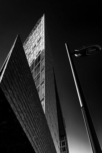 publishing house Minimalism Bnw Blackandwhite Modern Architecture Lantern Façade Hamburg Hafencity Building Exterior Built Structure Architecture Low Angle View Building Tall - High City Office Building Exterior Sky No People Modern Office Tower Nature Skyscraper Clear Sky Night Outdoors Glass - Material Travel Destinations
