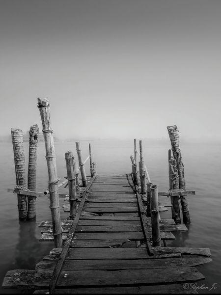 Bridge Blackandwhite Wood Sea Wooden Bridge Way Kerala India