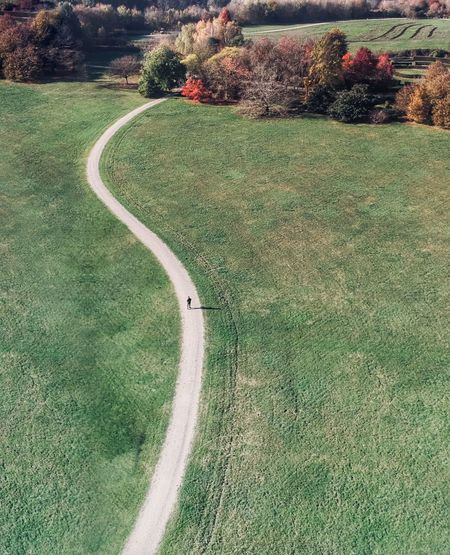 High angle view of road amidst field