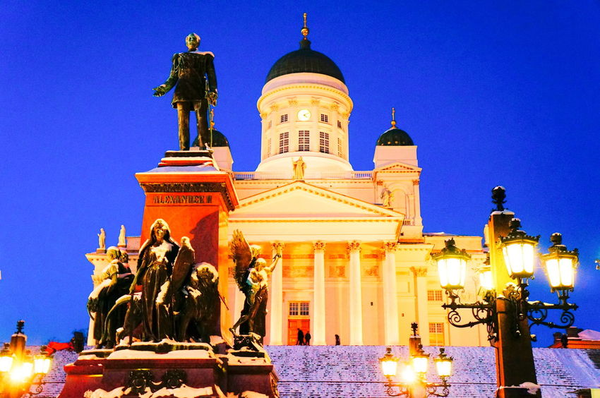 Finland Helsinki Scandinavia Winter Architecture Blue Building Exterior Built Structure Capital Clear Sky Day Dome Europe Gold Colored History Human Representation Illuminated Low Angle View No People North Europe Outdoors Place Of Worship Religion Sculpture Sky Snow Spirituality Statue Travel Destinations Urban