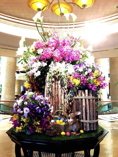 Easter Sunday Flower Fragility Freshness No People Nature Pink Color Built Structure Beauty In Nature Chair Flower Head Table Day Architecture Indoors  Floral Centerpiece Bunny  Rabbit Easter Rabbit Decoration Easter Bunny Fullerton Hotel Singapore