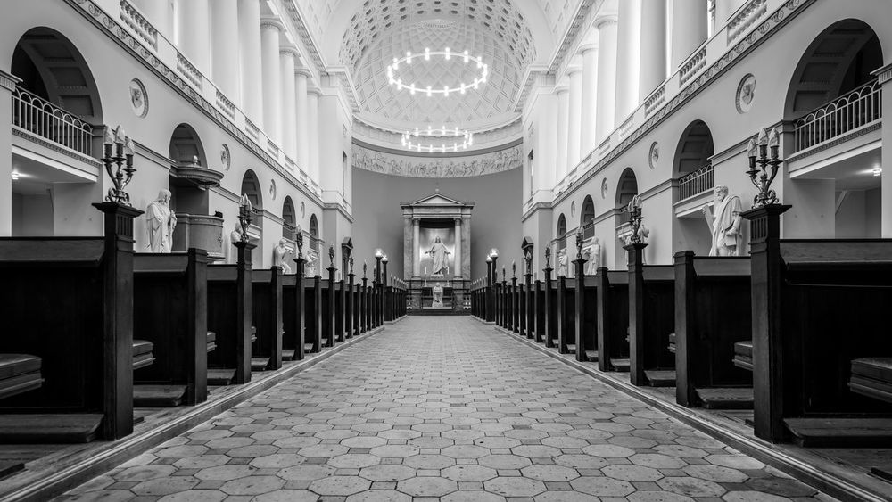 Hallowed Ground Architecture B&w Black And White Blackandwhite Capital Cities  Church City Copenhagen Danish Denmark Empty Places Europe Full Frame Inside Interior Interior Views Mono Monochrome No People Nordic Countries Perspective POV Scandinavia Urban Wide Angle