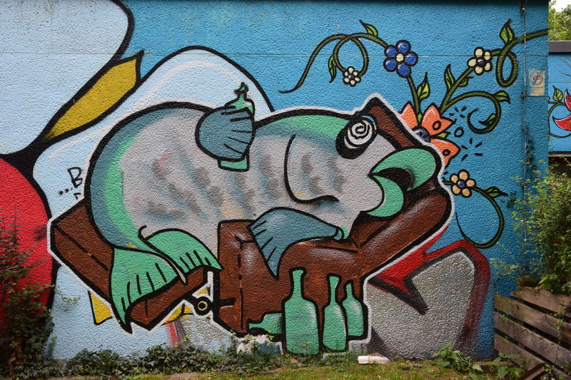 Art Blue Close-up Craft Creativity Day Design Drunken Fish Graffiti Green Color Joke Multi Colored No People Outdoors Street Art Wall - Building Feature Art Is Everywhere
