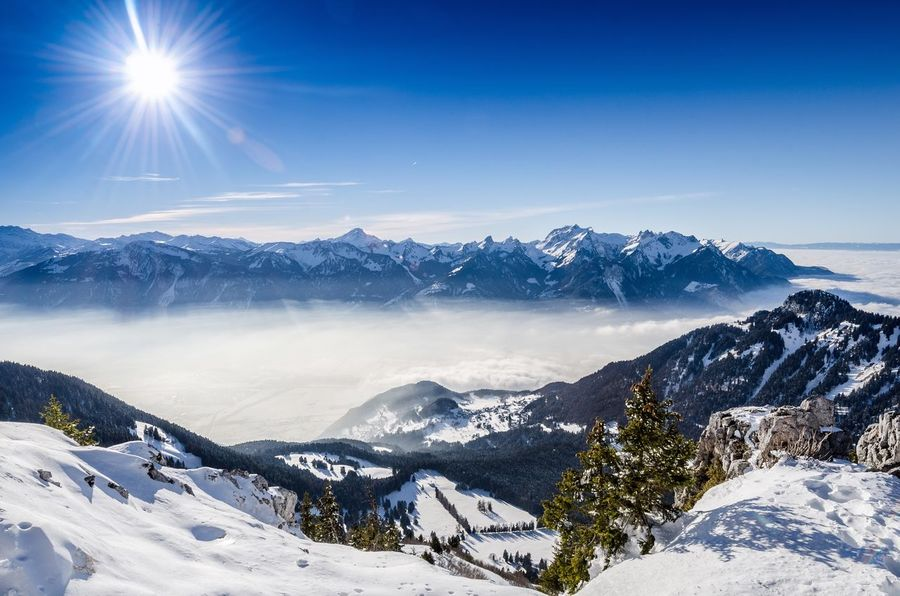 Snow Mountain Winter Mountain Range Sunbeam Landscape Nature Outdoors No People Day Tranquility Switzerland