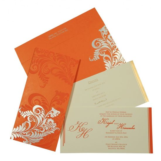 Orange Matte Floral Themed - Screen Printed Wedding Invitations : D-8259D | 123WeddingCards Designer Cards Designer Invitations Designer Invites Designer Wedding Cards Designer Wedding Invitations Wedding Cards Wedding Invitation Cards