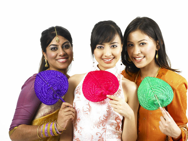 malaysia young woman in traditional costumes Friends Indian Traditional Clothing Baju Kebaya Beautiful Woman Bubby Cheongsam Chinese Fan Friendship Harmony Malay Ethnicity Malaysian Merdeka Mixed Race Multi Racial Portrait Racial Sari Smiling Together Togetherness United White Background Women