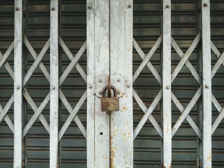 Close Old Door Locked Iron Fence Old House Gray Dirty Padlock Asian  Style Background First Eyeem Photo