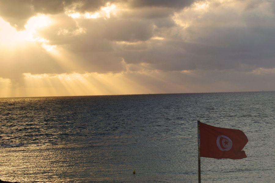 Cloud - Sky Flags Horizon Over Water Monastir Sky Sunlight Sunset Tunisia Tunisian Flag Water