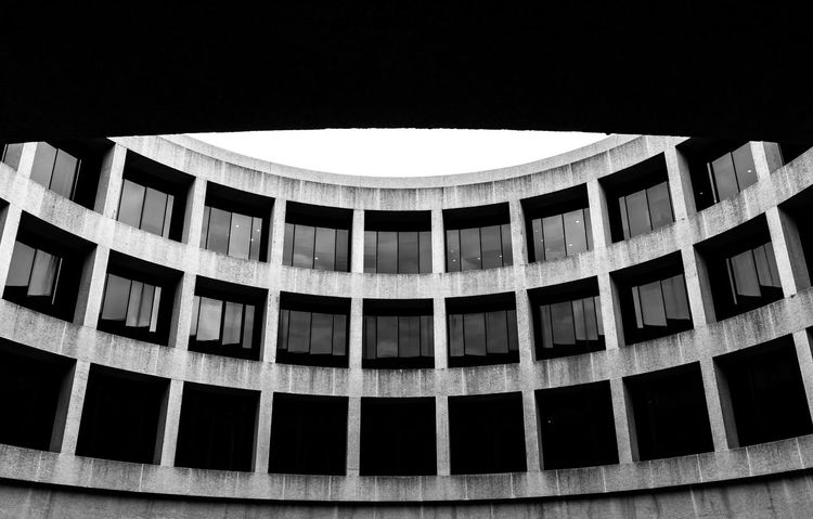 Hirshhorn Museum Architecture B&w B&w Photography Black & White Black And White Blackandwhite Building Exterior Built Structure Close-up Concrete Curved  Day Hirshhorn  Low Angle View No People Outdoors Pattern Sky Smithsonian Windows