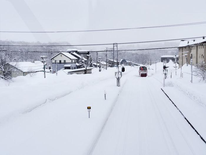 Snow covered railroad tracks in winter