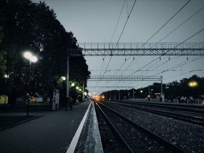 View of railroad tracks at dusk