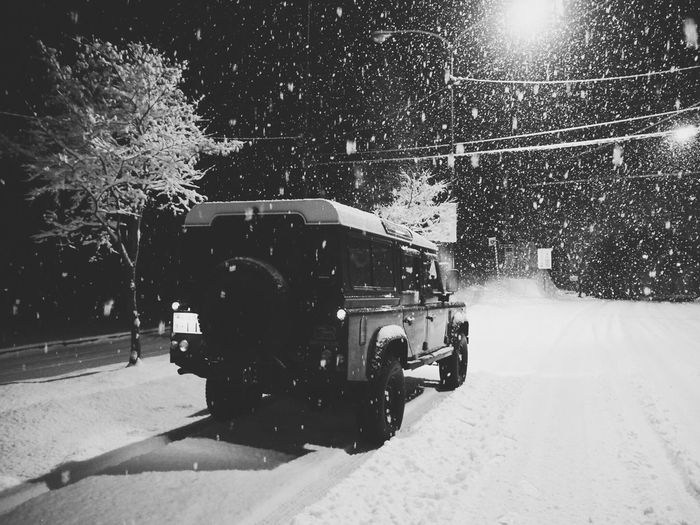 Snow Winter Cold Temperature Transportation Snowing Tree Mode Of Transport Land Vehicle Nature Outdoors No People Day Army Steam Train Classic Car Vscocam VSCO Defender Landrover  Nature Car Road