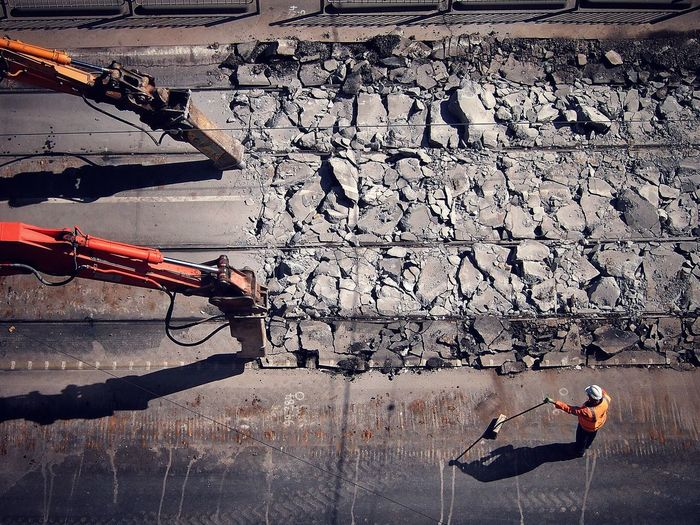 Heavy Machinery Crashing Concrete Surface