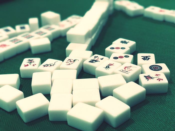 Arranging fate. Domino Casino Asian  Chinese Chinese New Year Luck Poker Mahjong Indoors  Close-up No People High Angle View Gambling