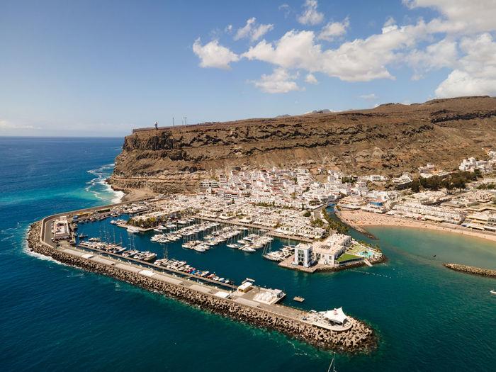 Aerial view on puerto de mogan in gran canaria, canary islands, spain