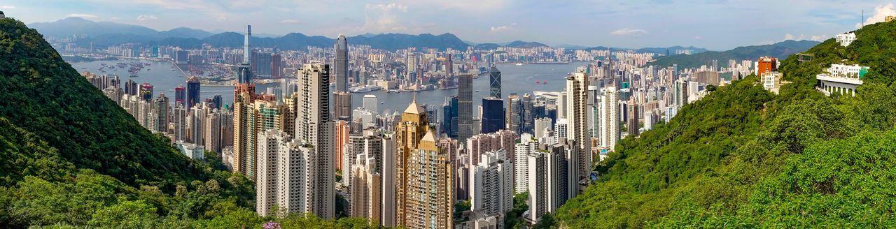 Panoramic shot of modern buildings in city