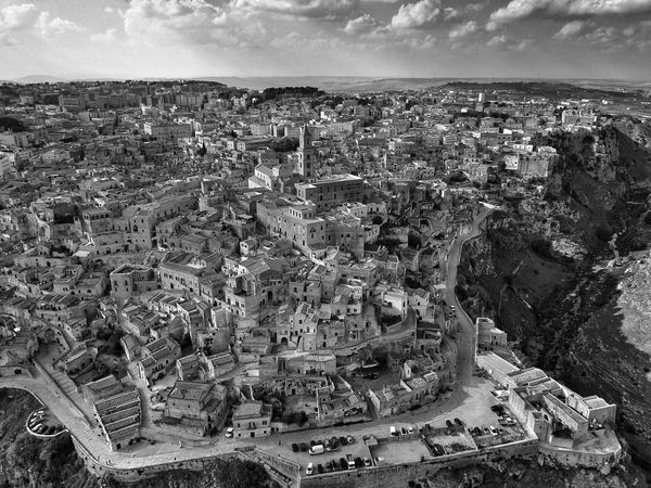 Cityscape Sky Architecture High Angle View City Aerial View No People Outdoors Building Exterior Day Built Structure Cloud - Sky Landscape Nature I Sassi Di Matera Matera Matera, Italy Matera - Capitale Della Cultura Sassi Di Matera Italy Italia Black And White Friday