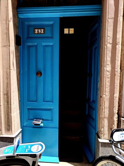 A door EyeEm Selects Blue Curtain Doorway Wood - Material Door Old-fashioned Sunlight Close-up Architecture