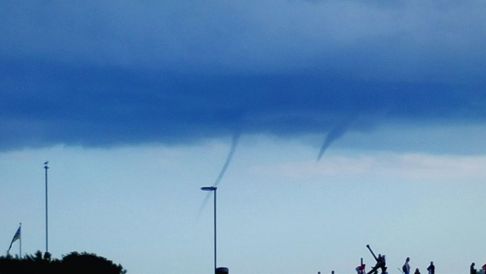 Water Spouts Whirlwind Weather Seaside GeoEngineering just caught the end of these waterspouts...by the time i ran to the car and got my phone out this is all that was left...they did reach all the way down to the sea Littlehampton Channel