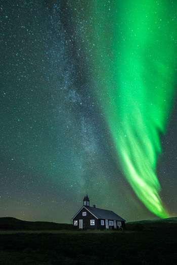 Aisaroaivi sapmi chapel with milkyway and northern lights above Aisaroaivi Aisaroaivi Chapel Aurora Borealis Chapel Finnmark Northern Lights Norway Architecture Astronomy Galaxy Milky Way Night No People Northern Lights Finnmark Northern Lights Norway Samisk Sapmi Sky Star - Space