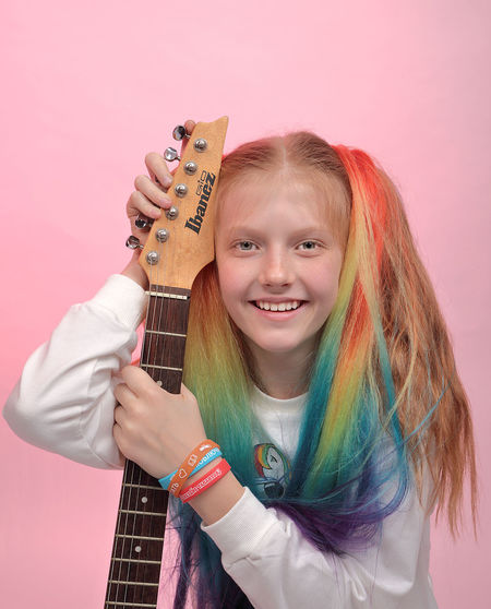 girl with guitar Child Portrait Smiling Childhood Studio Shot Girls Playing Colored Background Looking At Camera Happiness Pink Background Formal Portrait Musical Instrument String Guitar Classical Guitar Acoustic Guitar String Instrument Musical Equipment Musical Instrument Electric Guitar My Best Photo International Women's Day 2019 Exploring Fun The Portraitist - 2019 EyeEm Awards