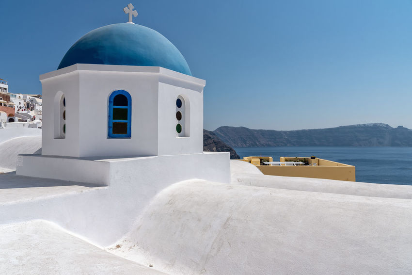 Oia village - Santorini Cyclades Island - Aegean sea - Greece Greece Santorini Oia Cyclades Island Mediterranean  Volcano Caldera Village Whitewashed Aegean Water Building Exterior Architecture Built Structure Dome Place Of Worship Religion Belief Nature Spirituality Sea White Color Building Mountain