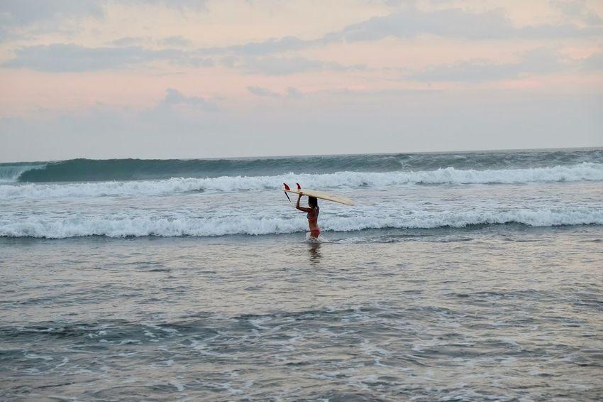 Arms Raised Beach Beauty In Nature Cloud - Sky Horizon Horizon Over Water Idyllic Motion Nature Scenics - Nature Sea Sky Sport Water Wave