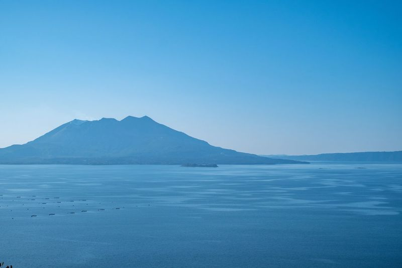 Sakurajima volcano Volcano Tranquil Scene Tranquility Copy Space Scenics Mountain Water