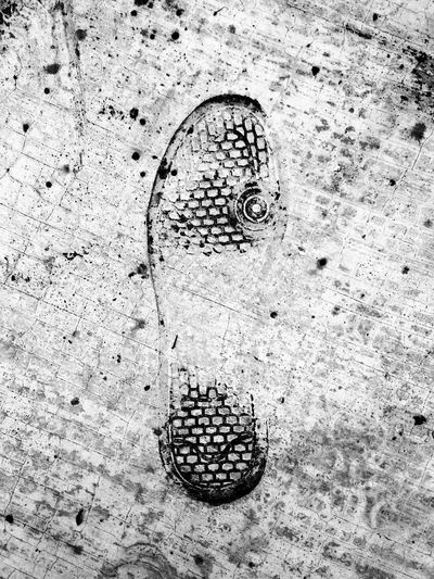 One shoeprint impressed on dirty pavement .. Shoeprint Pattern One Impressed Imprint FootPrint No Hurry Pavement Sidewalk Footpath Dirt Dirty Textured  Surfaces And Textures Lasting Impression Bad Day Gloomy Day Close-up No People Outdoors Black & White B&W Collection The Week On EyeEm