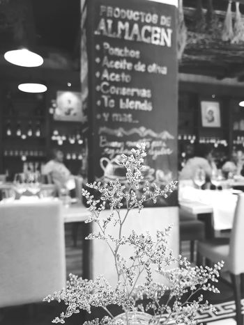 Lifestyles Wine Moments RoomPhotography Travel Travel Destinations Travel Photography Tourism Wine Restaurant Blackboard  Lobby Table Flower Growth Blackandwhite Black & White Blooming Focus On Foreground Store Cafe Outdoors No People Day Close-up