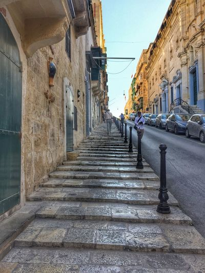 Streetview in Valetta, Malta Architecture Building Exterior Built Structure City Day Narrow Street No People Outdoors Sky Stairs Steep Steps Streetview The Way Forward