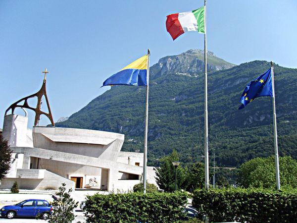 beautiful and modern church. Architecture Longarone North Italy Sightseeing Vacation Summer